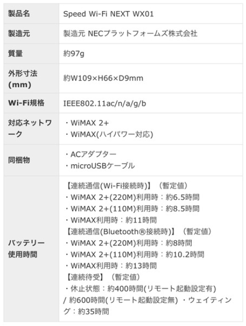 WX01スペック表